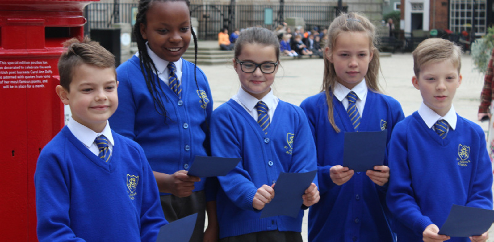 St Austin's children help launch special edition postbox in honour of Poet